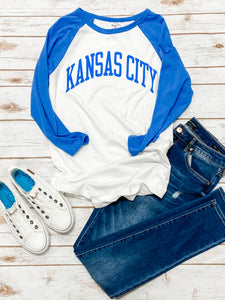 Kansas City White & Royal Blue Raglan by Charlie Hustle
