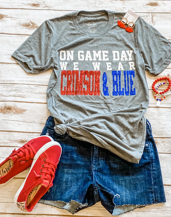 On Game Day We Wear Crimson & Blue Tee