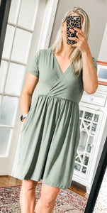 Short Sleeve Surplice Dress-Light Olive