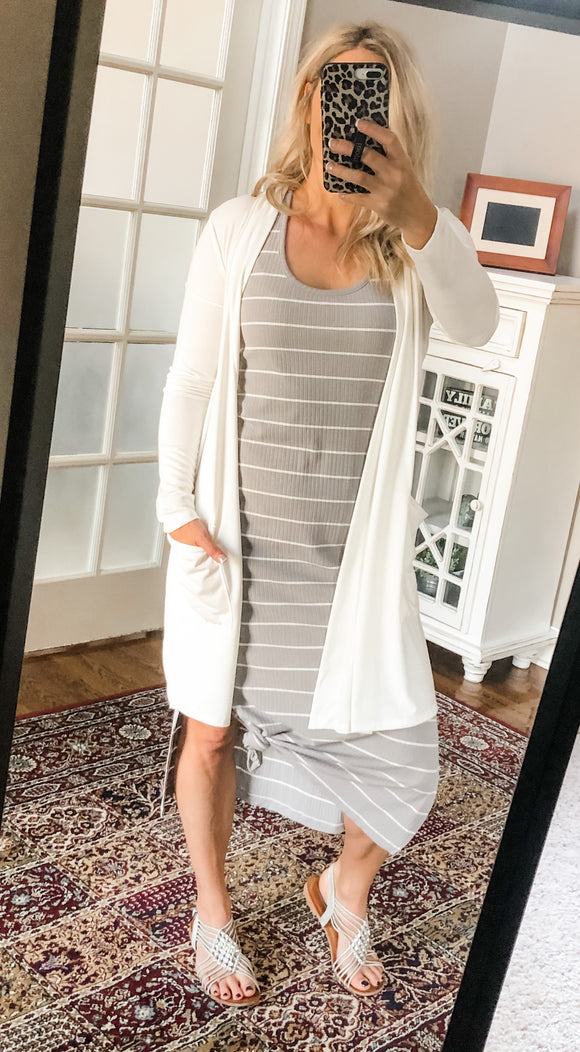Mid Length Slouchy Cardigan with Pockets