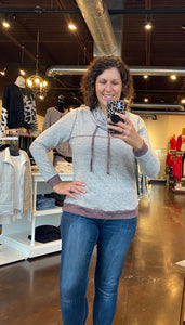 Taupe & Burgundy Cowl Neck Top