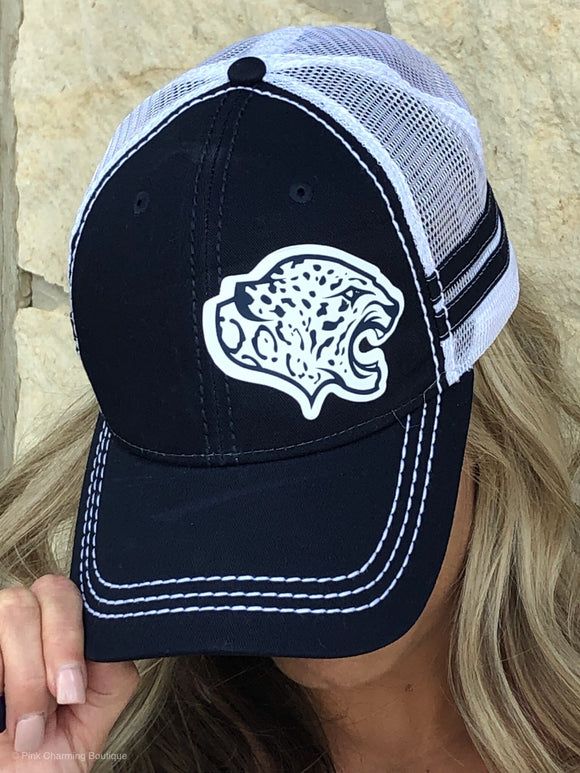 Navy & White Stripe Trucker Cap