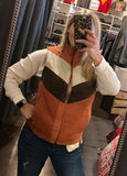 Color Block Corduroy Zip Up Vest
