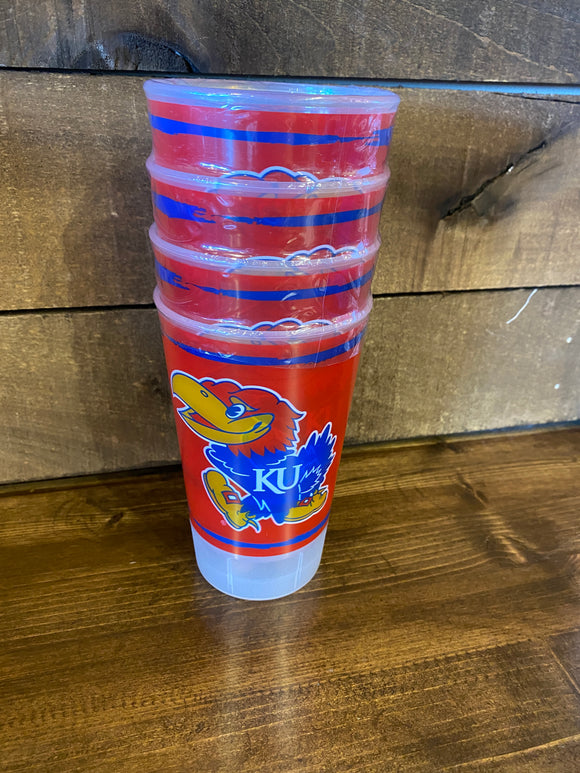 University of Kansas Plastic Tumbler 4 pk