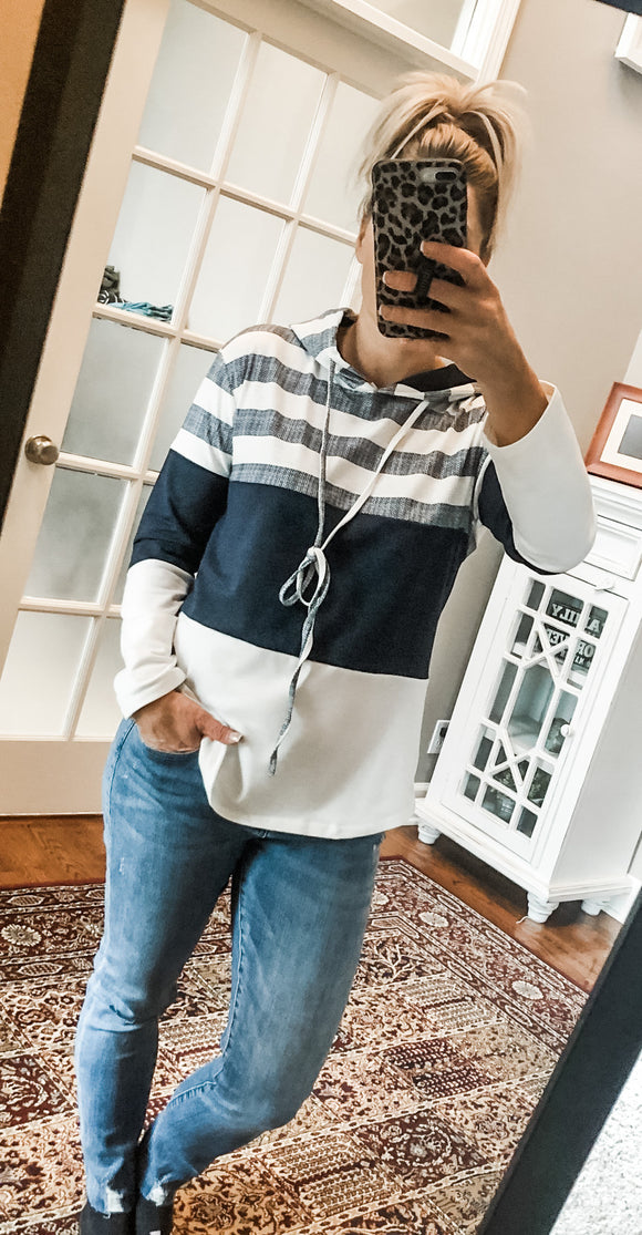 White & Navy Color Block Light Weight Hooded Sweatshirt