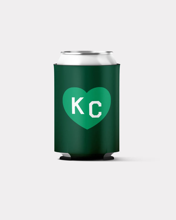 St. Patrick's Day Green KC Heart Koozie