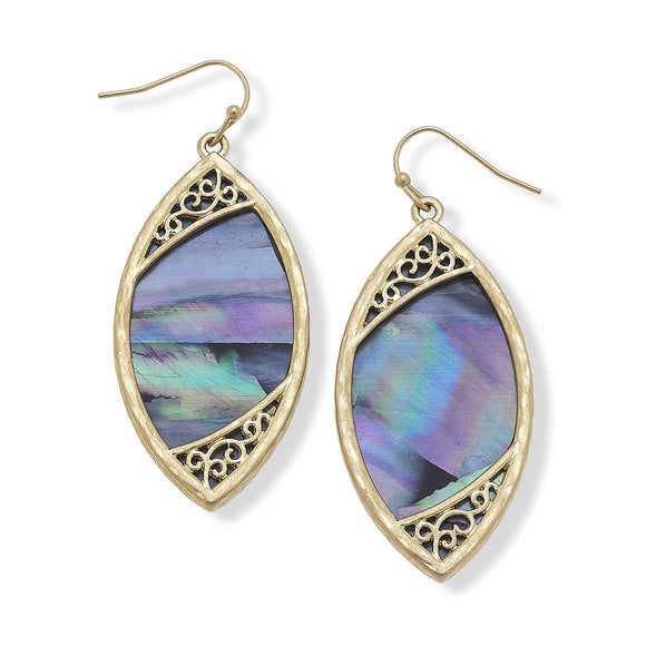 Kennedy Earrings in Blue Mother of Pearl Shell