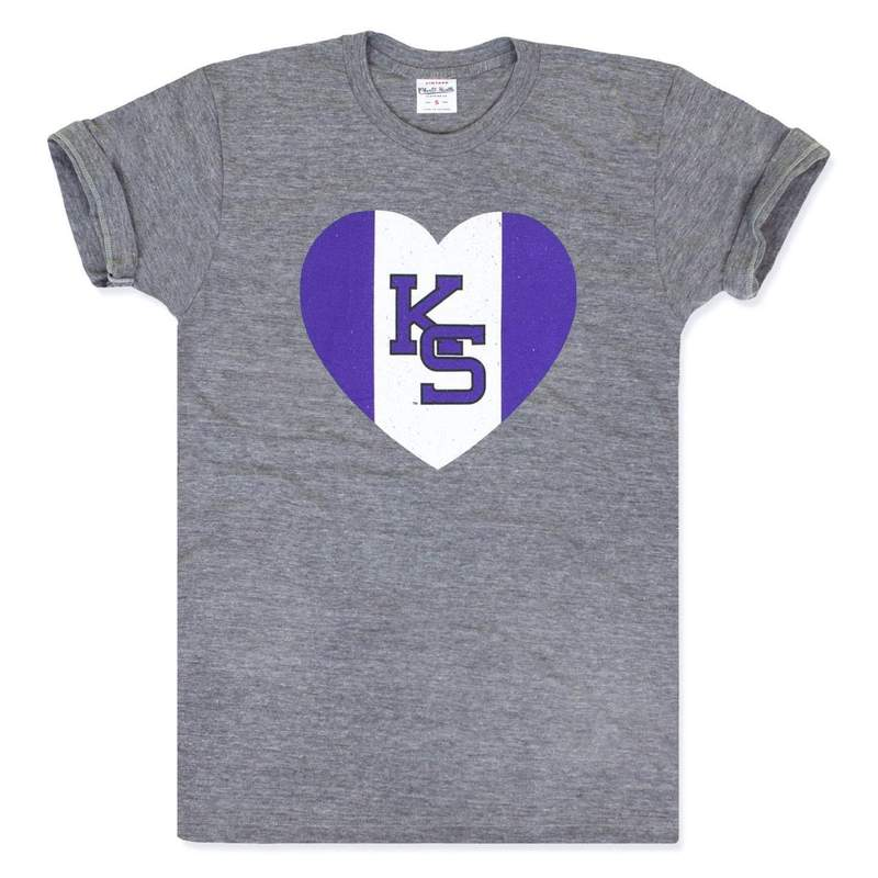 Kansas State University Wildcats Heart Vintage Grey T-Shirt