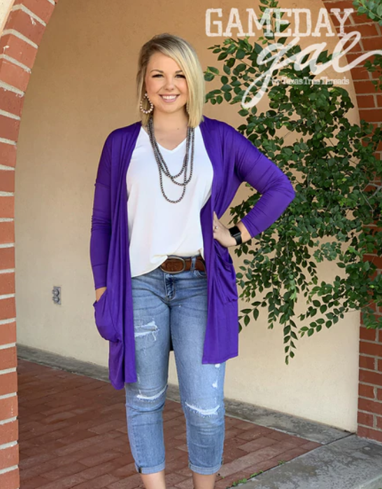 Solid Purple Cardigan