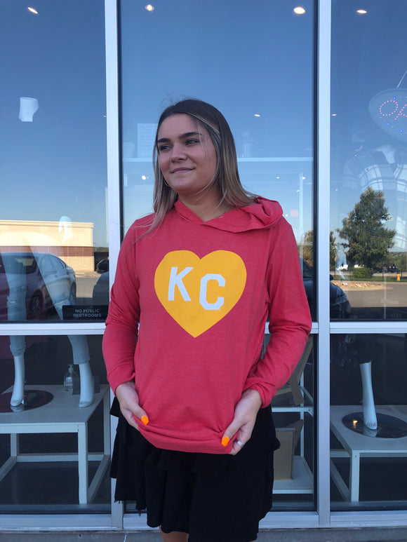 Heather Red KC Heart Vintage Lightweight Hoodie