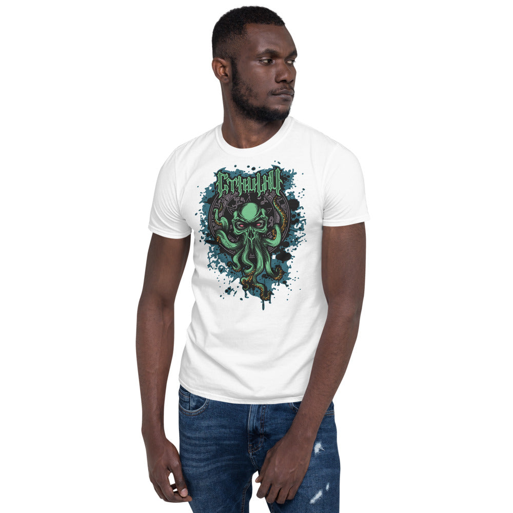 H.P. Lovecraft Green and Blue Cthulhu Band Shirt