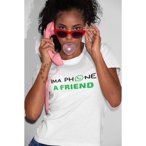 TroyInLA Ima Phone A Friend White T-shirt