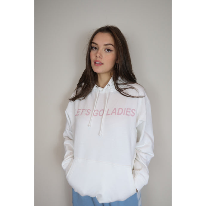 India Grace Let's go Ladies White Hoodie