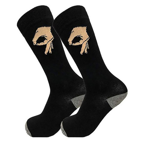 Unisex Cotton Long Funny Unisex Socks OK Gesture