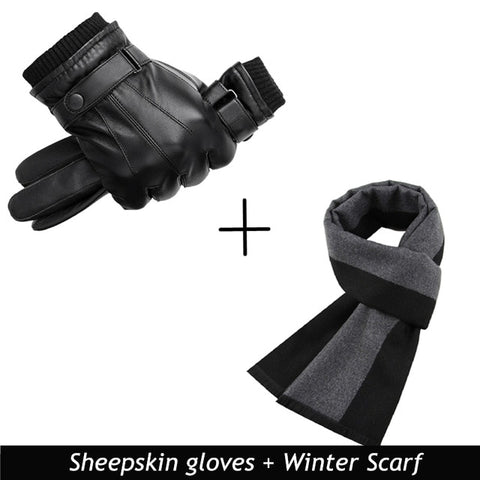 High Quality Black Men Leather Gloves for Winter and Autumn