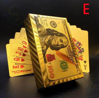 US dollars / Euro Style Waterproof Plastic Playing Cards Gold Foil