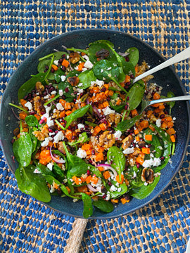quinoa spinach goats cheese vegetarian nourish bowl