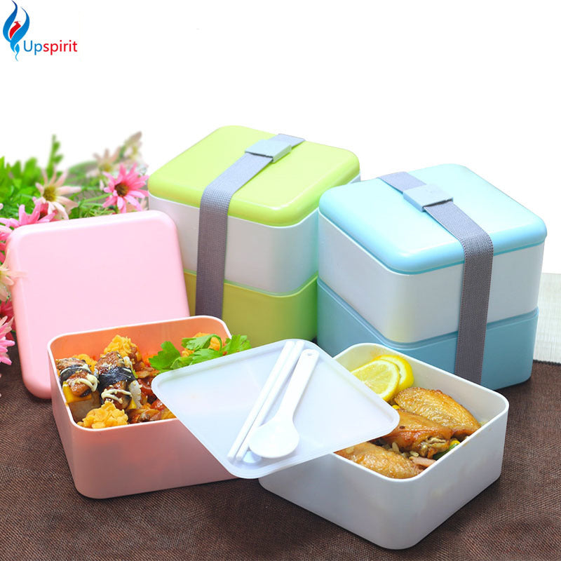 Japanese Style Square Bento Boxes With Silverware