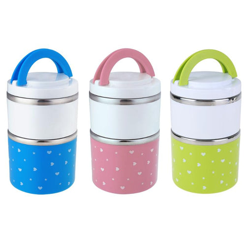 930ml 2 Layer Stainless Steel Thermal Bento Lunch Box