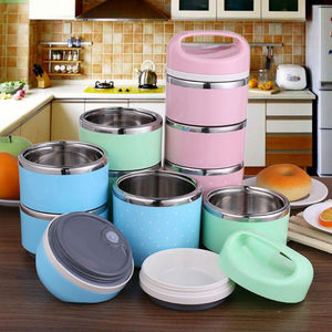 Portable 3 Layer Thermal Insulated Leak-Proof Bento Box Set