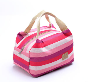 Insulated Hot or Cold Striped Tote Bag 6 Colors Available