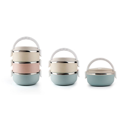 Portable 3 layer Bento Lunchbox Stainless Steel Round Picnic LunchBox Microwave Box Bento Food Container Storage 16.5*20.5cm