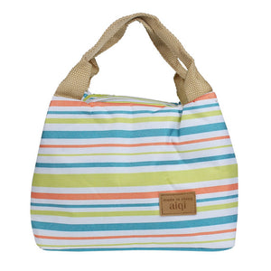 Fun Striped Thermal Insulated Lunch Bags