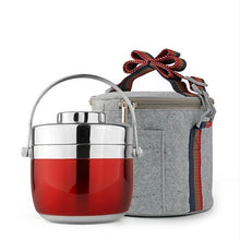 Double Layer Stainless Steel Thermal Insulated Bento Box With Storage Bag