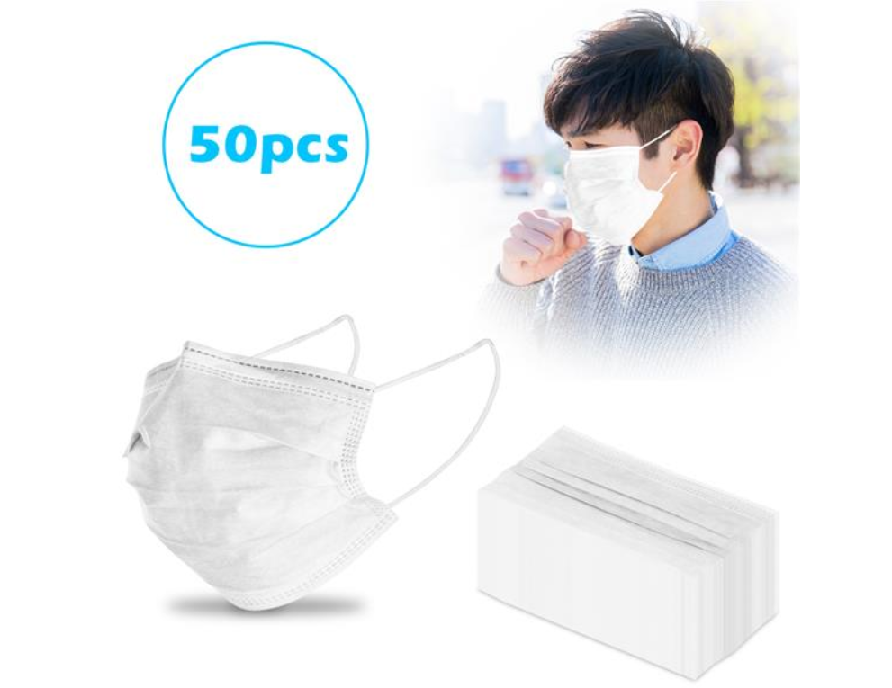 50pcs 3-Ply Disposable Face Mask with Elastic Earloop Random Color