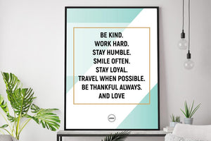 BE KIND. WORK HARD. STAY HUMBLE - Motivate Heroes
