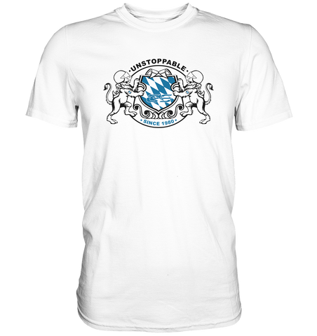 "GS Motorrad ""UNSTOPPABLE SINCE 1980"" Bayern Wappen im GS Style - Premium Shirt"