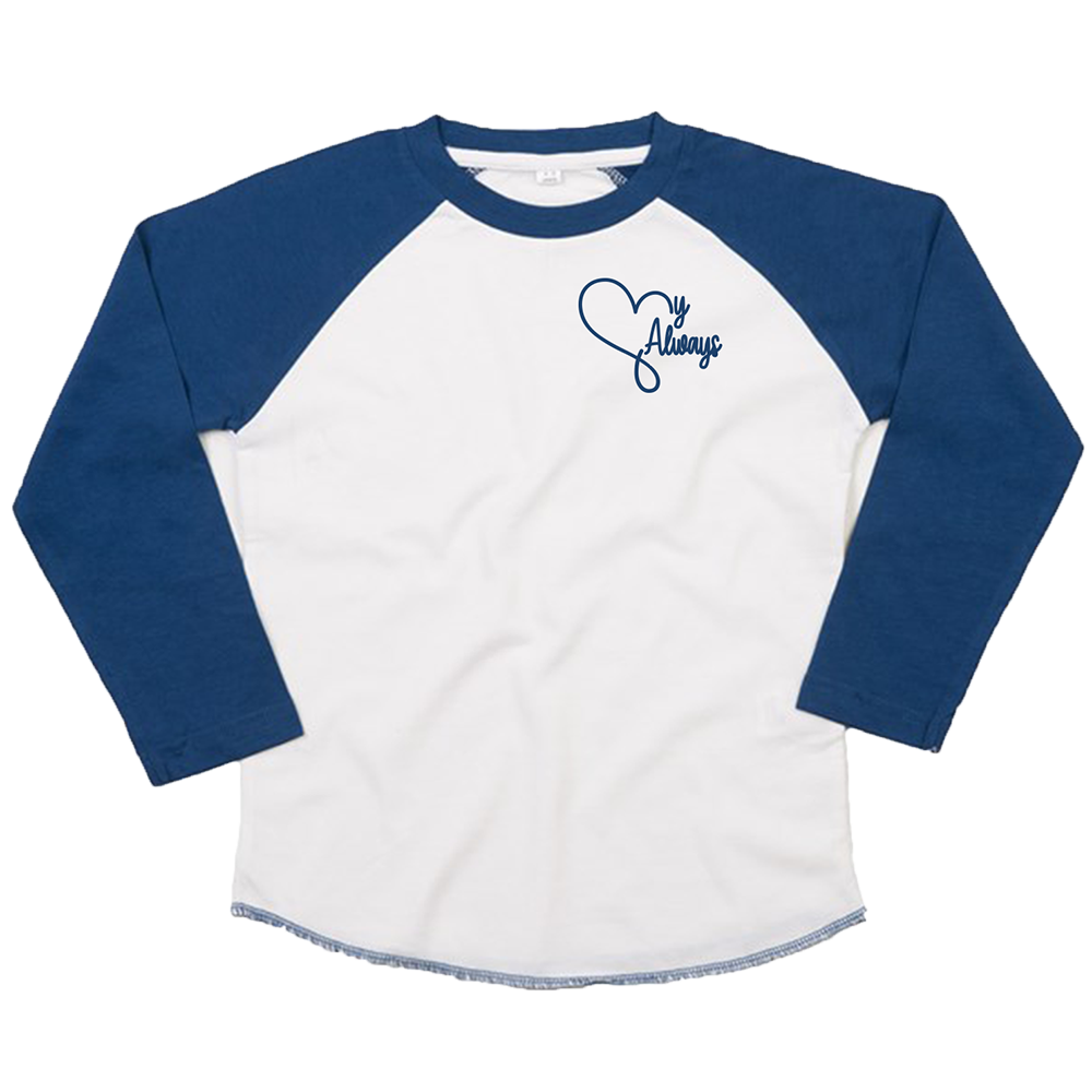 'My Always' Youth Baseball Shirt (White/Navy)