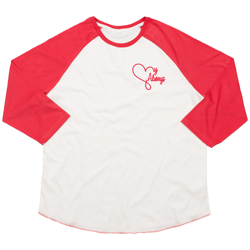'My Always' Youth Baseball Shirt (White/Red)