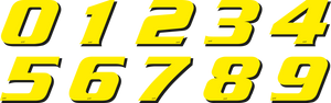 "RACING NUMBERS DECAL KIT ""0-9"" FLUORESCENT YELLOW - Onedesign Corp"