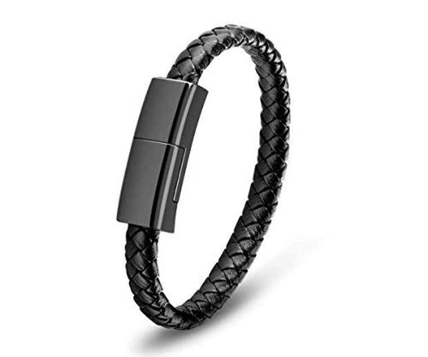 LEATHER USB CHARGING BRACELET (APPLE Connector)