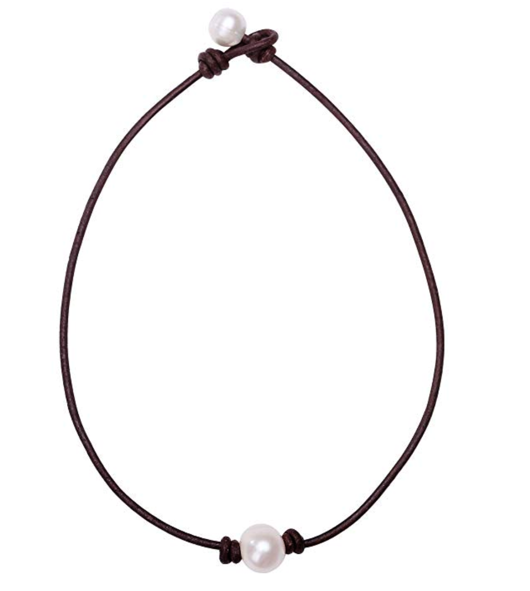 Handmade Pearl Choker with Genuine Leather for Women