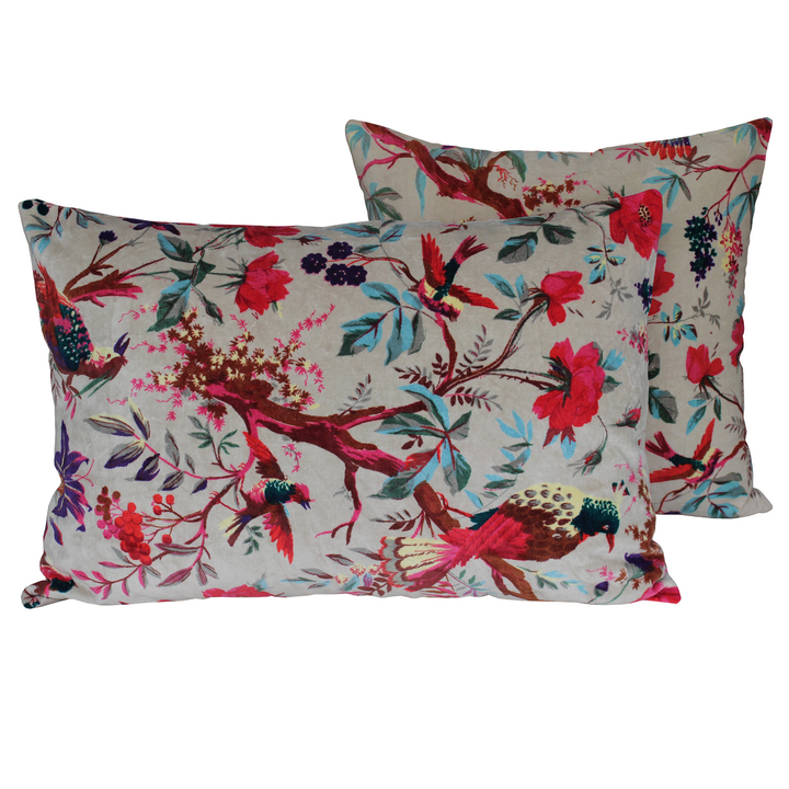 6 colours - Harmony - Birdy velvet cushion cover - 45x45 cm or 40x60 cm