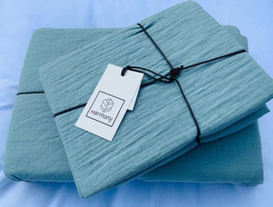 7 colours- Harmony - Dili washed cotton fitted sheet - 100% cotton