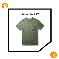 soft, sustainable men's classic crew t-shirt with pocket men's gift guide, olive green