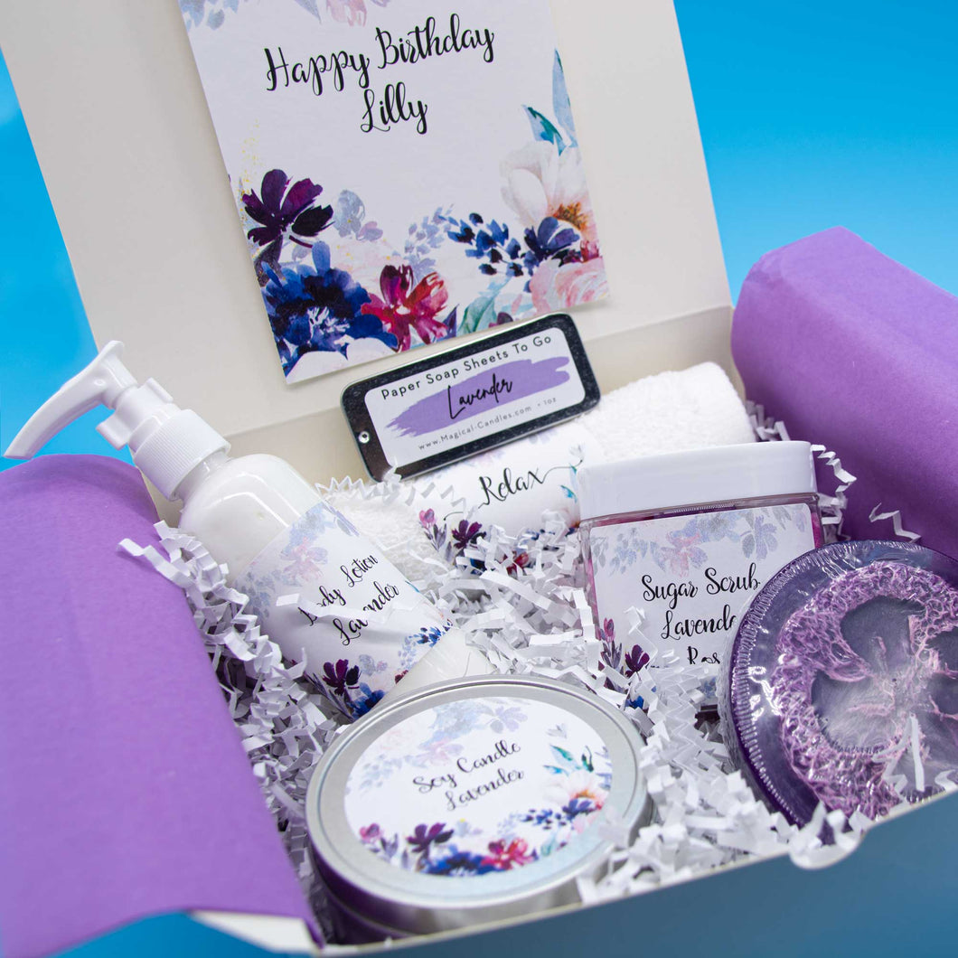 Happy Birthday Personalized Gift Box for Women-Lavender Gift Box-FREE Shipping