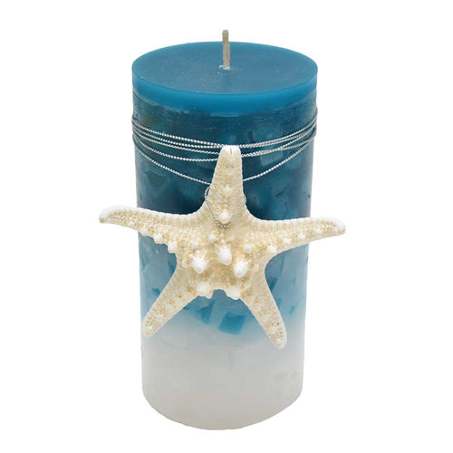 Pillar Candle with Starfish-Free Shipping