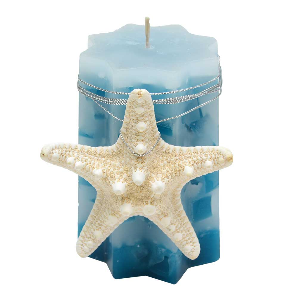 Ocean 8 Point Star Pillar Candle