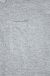 Light Grey Marl Plain Polo Shirt With Chest Pocket