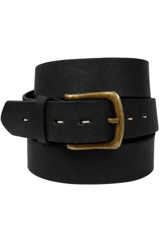 Black Bonded Leather Belt