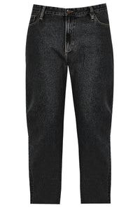 Denim Straight Leg Jeans (Black) With Unfinished Raw Hem