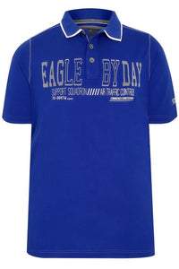 Blue 'Eagle By Day' Polo Shirt With Double Collar