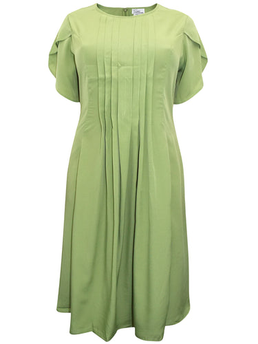 Lime Pleated Front Short Sleeve Midi dress