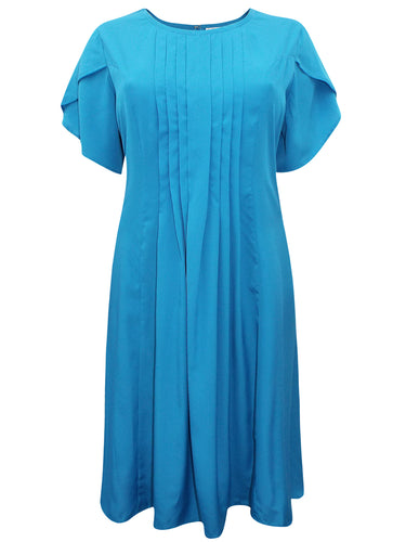 BLUE Pleated Front Short Sleeve Midi Dress