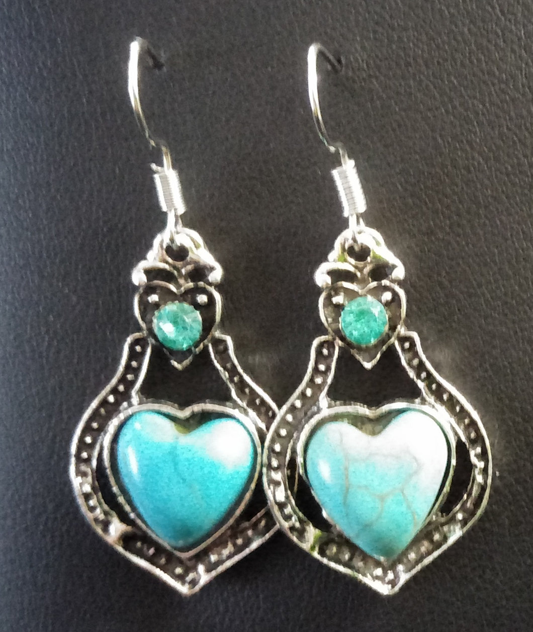 Torquoise Heart shaped drop Earrings