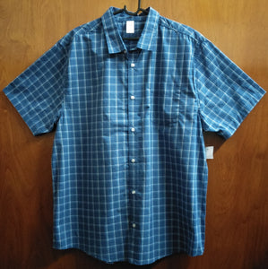 Blue Checked Short Sleeve Button Up Plus Size Shirt